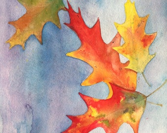 """Falling Oak Leaves Original Watercolor Painting 10"""" x 10"""" by Mary Rogers"""