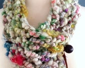 Fandango- Funky, Chunky Infinity Cowl/Scarf- Hand Knit One of a Kind from Handspun Art Yarn
