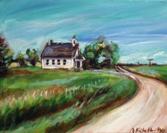 Cute Little White Country School house 10 x 8 original painting