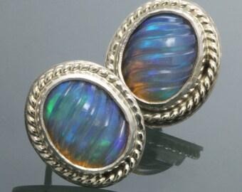 Ethiopian Opal Earrings. Sterling Silver. Stud Earrings. Genuine Carved Opals. October Birthstone. 14e041