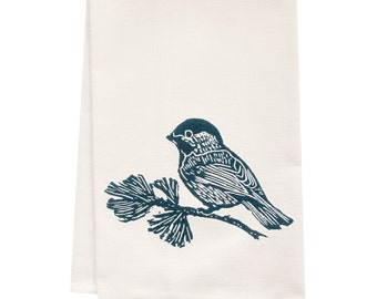 ORGANIC tea towel chickadee block print