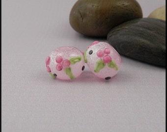Ginnovations lampwork, Sugar Sweet bead pair (2 beads)