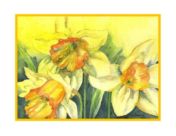 Watercolor Yellow Fleeting Daffodils Greeting Notecards Note Cards, Daffodil Art, Daffodil Prints, Boxed Set, Easter, Stocking Stuffer