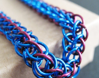 Blue and Red Chainmaille Unisex Bracelet Half Persian Chain Link Jewelry for Men and Women