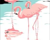 Flamingos art tropical Florida everglades scene giclee print, 1980s pop art, art nouveau, graphic art, retro, stylized