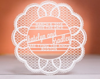 Doily Save the Date, Laser Cut