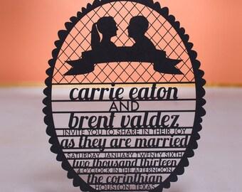Cameo Wedding Invitation, Laser Cut