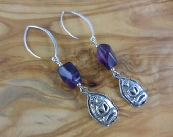 Sterling Silver Amethyst Gemstone Buddha Earrings