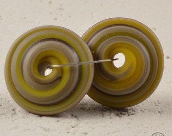 Wacky Chunky Spiral Discs - Matte Mustard and Purple