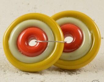 Handmade lampwork matching pair disc beads - Orange, Tan, Mustard