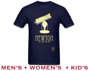 Isaac Newton Tshirt, Astronomy Shirt, Science Tee Shirt, Rock Star Scientist, Vintage Telescope Illustration, Star Gazing Shirt, STEM Tshirt