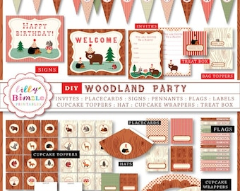40% off DIY Woodland Party Printables Birthday cupcake toppers, wrappers, invites Forest Animasl Instant Download Lilly Bimble