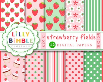 40% off Strawberry Fields digiital scrapbooking papers birthday party paper COMMERCIAL USE Instant Download