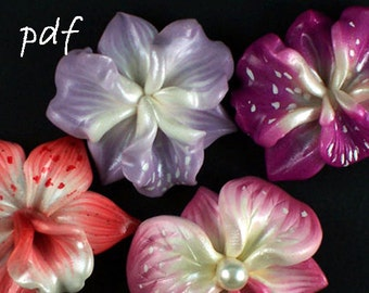 Polymer clay beads tutorial, flowers tutorial, 3 sculpted orchids, focal beads, pdf, DIY, instant download
