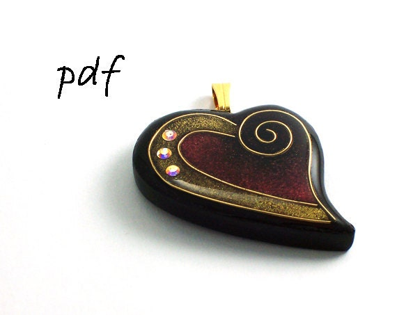 Polymer clay pendant tutorial, resin tutorial, faux cloisonne technique basics, pdf jewelry tutorial, instant download