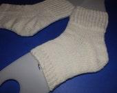 Hand knit pedi socks . Knit flip flop socks . Handmade spa socks . Hand knit socks . White socks . Toeless socks . Acrylic . Bulky . Large
