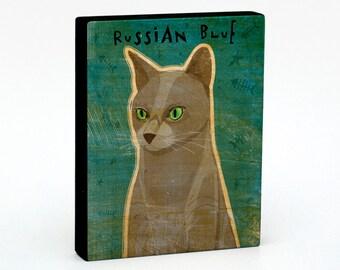 "Russian Blue Cat Art Block Sign 4"" x 5""- Cat Art Print- Russian Blue Cat Print- Cat Wall Decor- Russian Blue Cat Gifts for Cat Lovers"