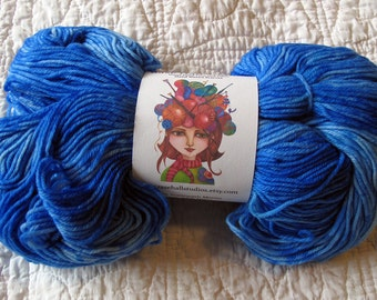 Hand Dyed Hand Painted Fingering Weight Superwash Wool/Nylon Sock Yarn French Blue - 462 yards Indie Dyer-Rase Hall Studios