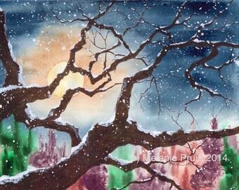 Snowy Winter Tree Full Moon Original 8x10 landscape watercolor painting by M. Pruitt EBSQ SFA