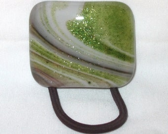 Ponytail Holder, Sparkly Green, Tan and White Swirled Fused Glass, Handmade Hair Accessories, Women's Accessories, Curved Glass Hair Tie