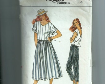 Vogue  Misses'  Top, Skirt, and Pants Pattern 8988