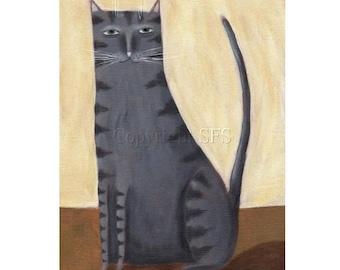 Cat Folk Art, Primitive Cat, Tabby Cat Print, Gray Tabby, Primitive Wall Art, Outsider Art, Grey Tabby, Naive Art, Cute Picture, Kids