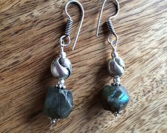 Fiery labradorite silver earrings