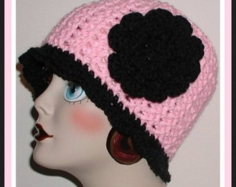 Pink And Black Flapper Ladies Hat Women Large Cloche Layered Flower Rose Large