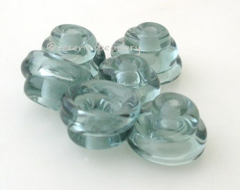 Glass Bead Caps LIGHT STEEL GREY Handmade Cone Lampwork - taneres