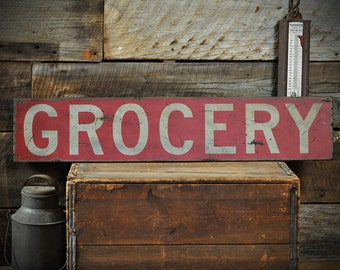 Grocery Sign, Kitchen Decor, Rustic Grocery Sign, Primitive Kitchen, Rustic Hand Made Wooden, Kitchen Wall Decor, Pantry Sign ENS1000674