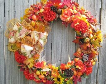 Fall Pumpkin Wreath,  Front Door Wreath- Wall Wreath- On Sale -  Porch Wreath- Fall Wreath- Autumn Wreath