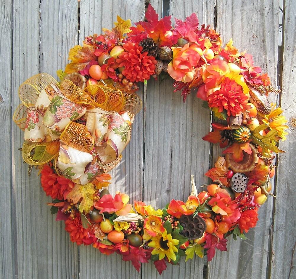Pumpkin Front Door: Fall Pumpkin Wreath Front Door Wreath Wall Wreath Porch