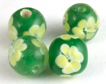 12mm Green with White Flowers Lampwork Bead #LCB012