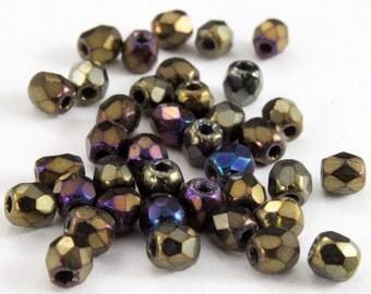 3mm Metallic Brown Iris Fire Polished Bead (50 Pcs)  #GBA010