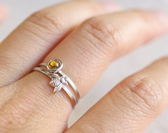 bumble bee ring . silver bee ring . gold honeybee ring . tiny bee ring . honey bee stacking ring . simple bee ring // 4BUMB