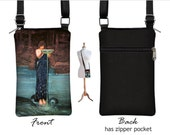 iPhone 6 / Plus Sling Bag Cell Phone Purse Circe Invidiosa Fabric Case  Small Cross Body Bag, greek mythology woman blue brown   RTS