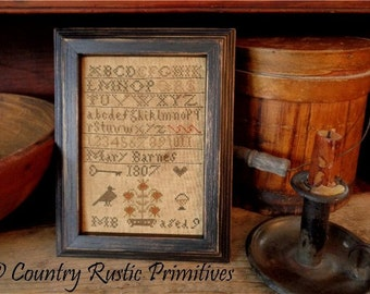 Primitive Mary Barnes 1807 Sampler Cross Stitch E Pattern PDF New Pattern