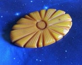 Antique Mustard Sunburst Bakelite handcarved Brooch - early plastic jewelry 1930s