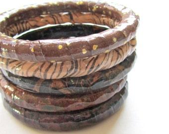 Warm Brown Bangle Stack - set of five decoupaged paper bracelets in winter colors - dark mocha, black swirls, gold dots