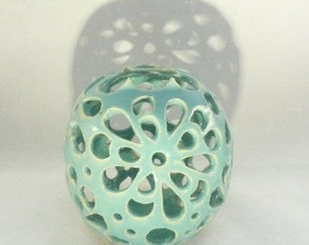 Ceramic Vessel - Studio Art Vase in Blue - Fall Wedding Something Blue - Ceramic Sculpture - Candleholder - Collectible Artwork
