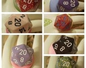 Geek Engagement Ring- d20 dice- You choose the color!