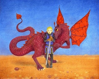 """Dragon picture - """"The Amorous Dragon"""" - fantasy art print of a boy St George and an affectionate lady dragon in love. Nancy Farmer art."""