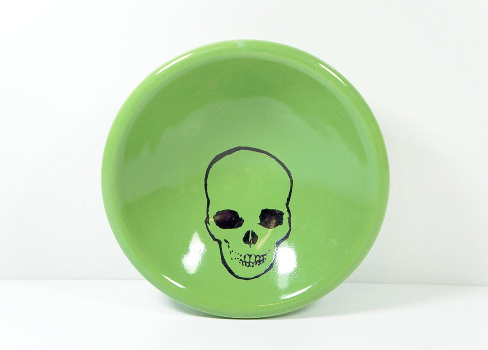 a small dish with a skull print on tinda melon green glaze, made to order / pick your colour