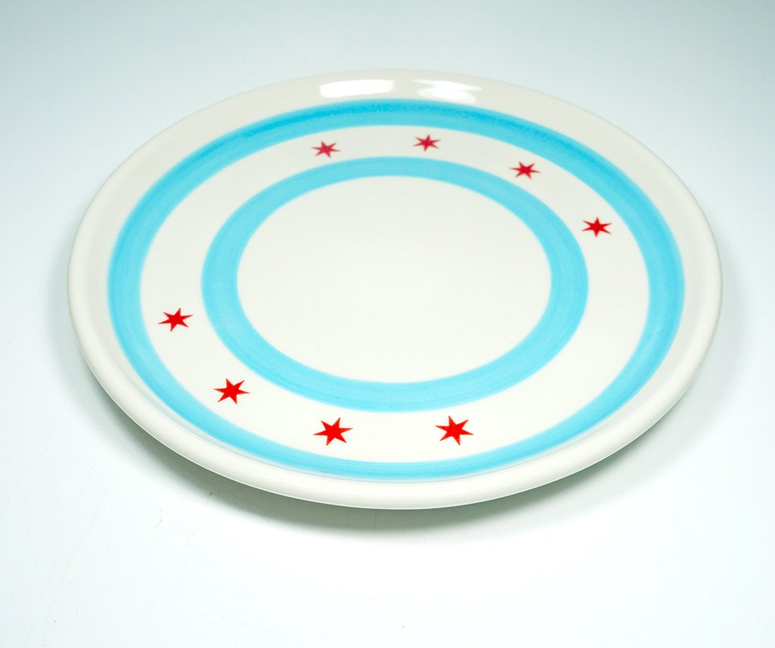 platter decorated with the chicago flag motif.  Made to Order.