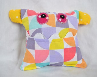 Monster Tooth Fairy Pillow- Purple Yellow Pink Geometric