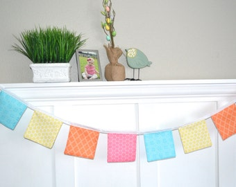 Fabric Banner Garland Pennant - Spring Colors - Blue Yellow PInk Orange
