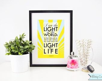 Light of the World Scripture Subway Art Printable Wall Art by BitsyCreations INSTANT Download