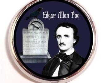 Edgar Allen Poe Raven Gravesite Pill Box Case Pillbox