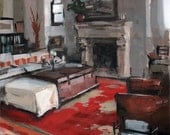 Art Print Rustic 9x12 on 11x14 - Rustic Interior with Red Carpet by David Lloyd