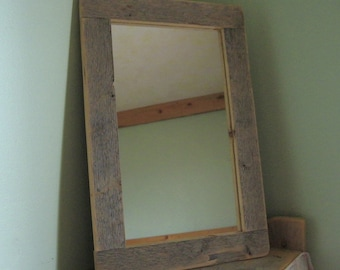 Barnwood MIRROR (7x12) handmade from reclaimed weathered wood - rustic refined
